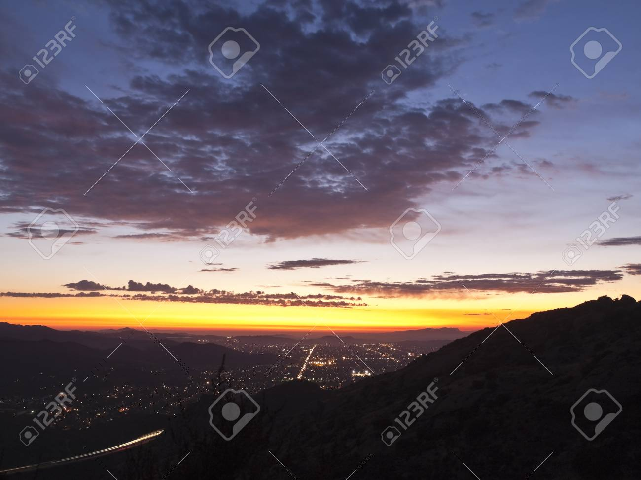 Simi Valley in Southern California at sunset.  Shot from Rocky Peak Park. Stock Photo - 10669129