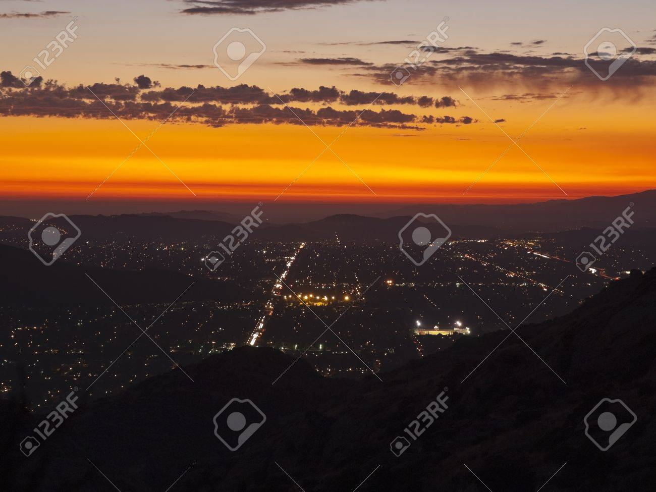 Simi Valley in Southern California at night.  Shot from Rocky Peak Park Stock Photo - 10669130