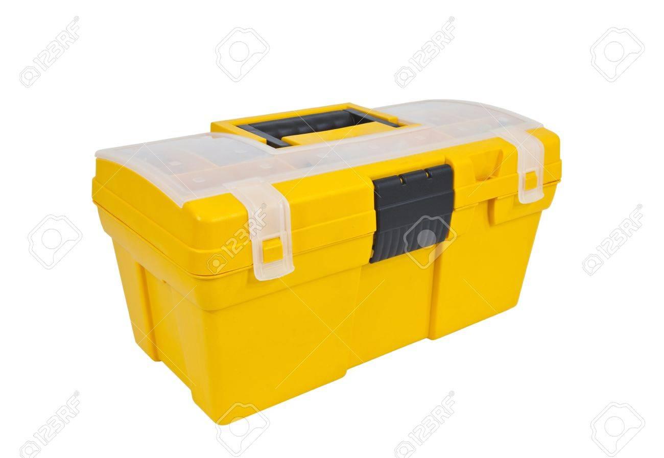 Bright yellow home maintenance tool box isolated on white. Stock Photo - 10716842
