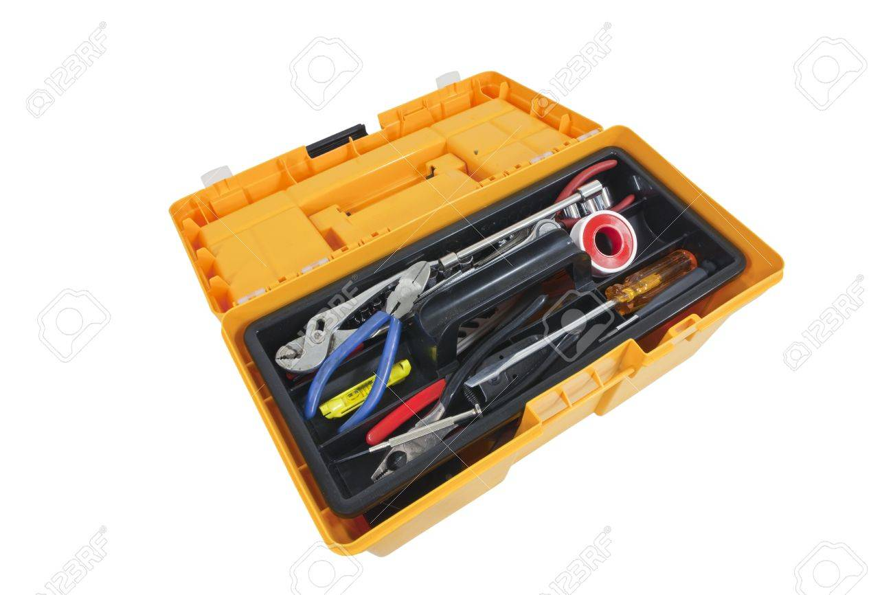 Open house hold tool box with a variety of tools. Stock Photo - 10793721