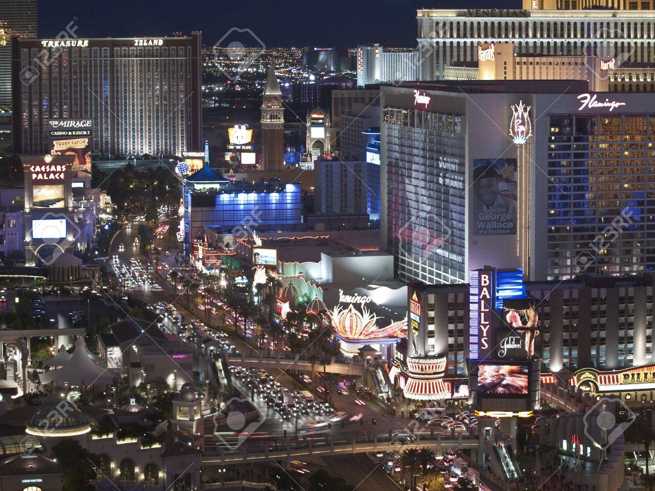Las Vegas, Nevada, USA - October 6, 2011:  Early evening light at Treasure Island, Trump, Flamingo and other resorts on the Las Vegas strip in southern Nevada. Stock Photo - 10820694
