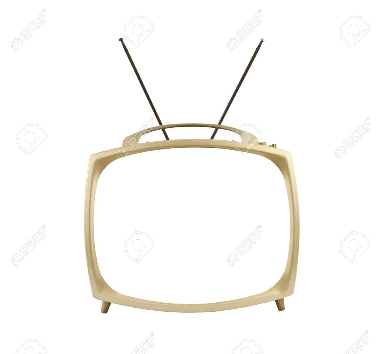 1950's portable television with antennas up.  Isolated with blanked screen. Stock Photo - 12428536