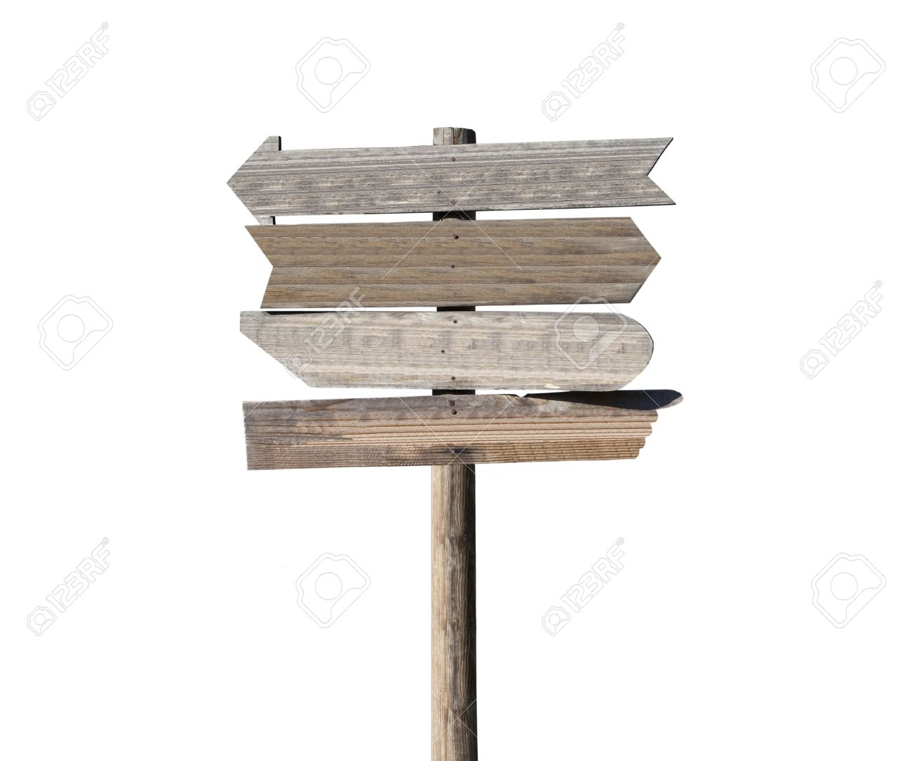 Old blank wooden arrow directional sign isolated on white. Stock Photo - 12743497
