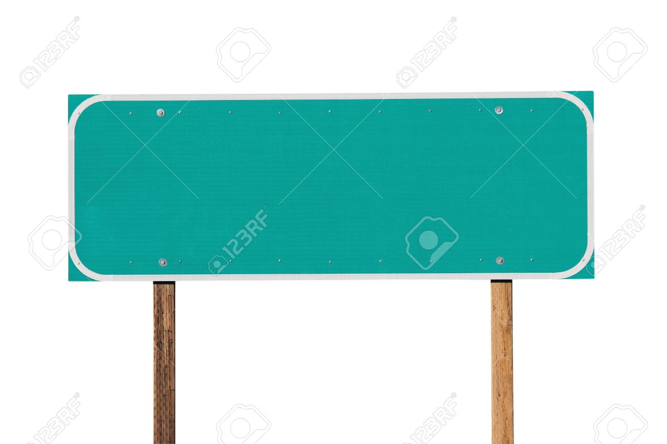 Blank green highway sign isolated on white. Stock Photo - 12910582