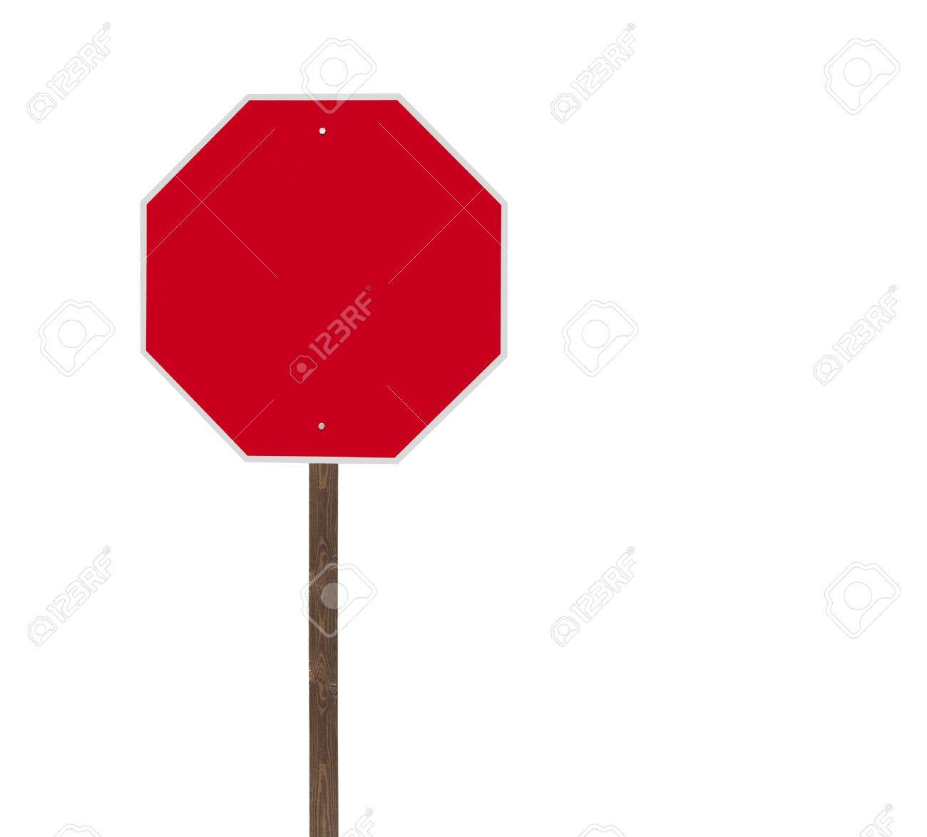 Tall blank isolated stop sign on a wooden post