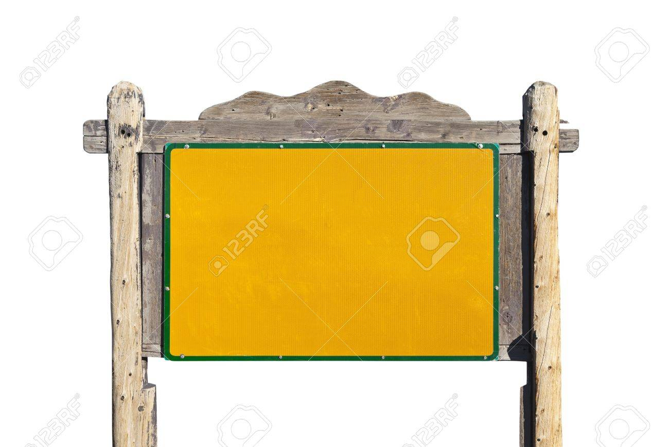 Rustic western style blank highway message sign isolated. Stock Photo - 13273938