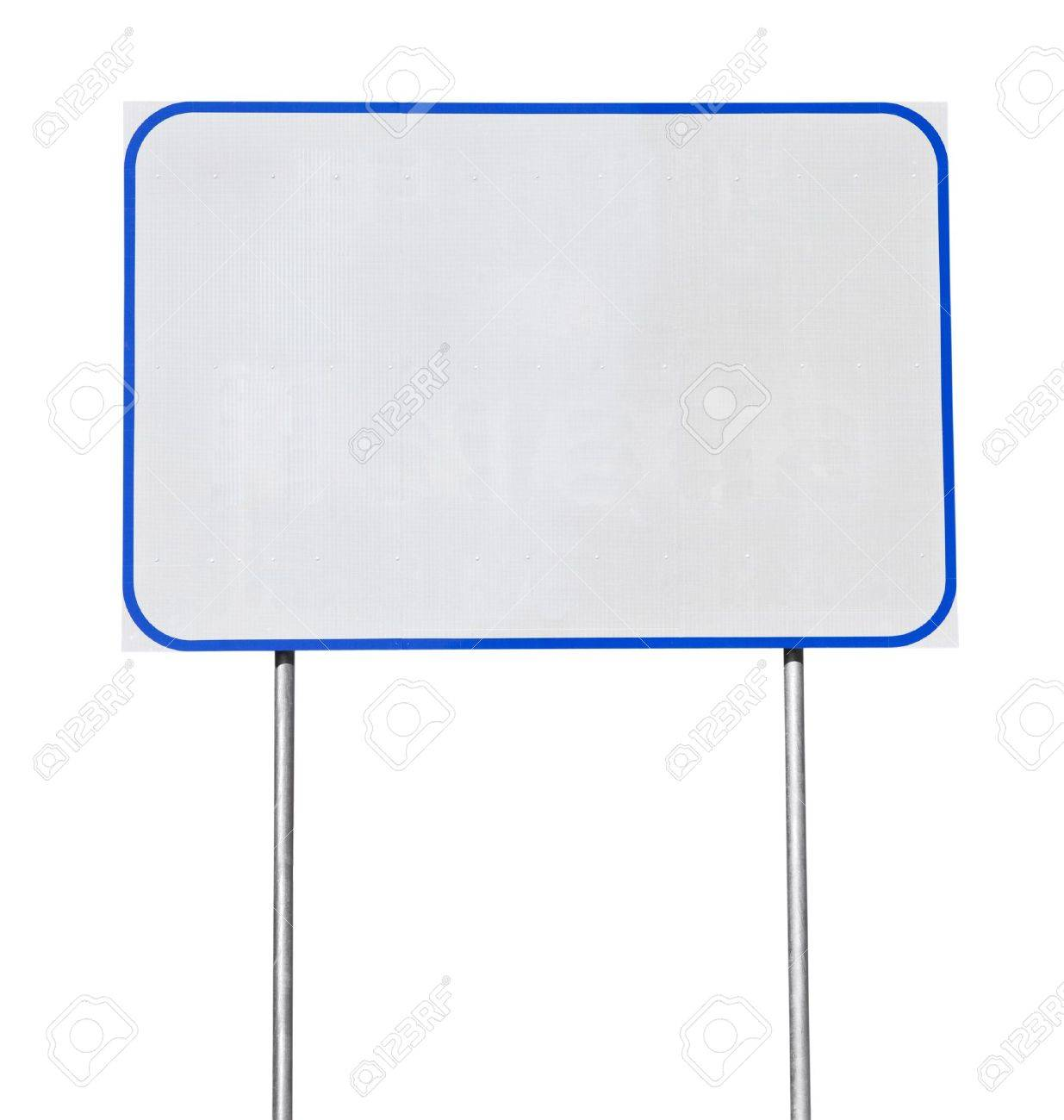 Big blank white road sign with blue trim isolated. Stock Photo - 13385817