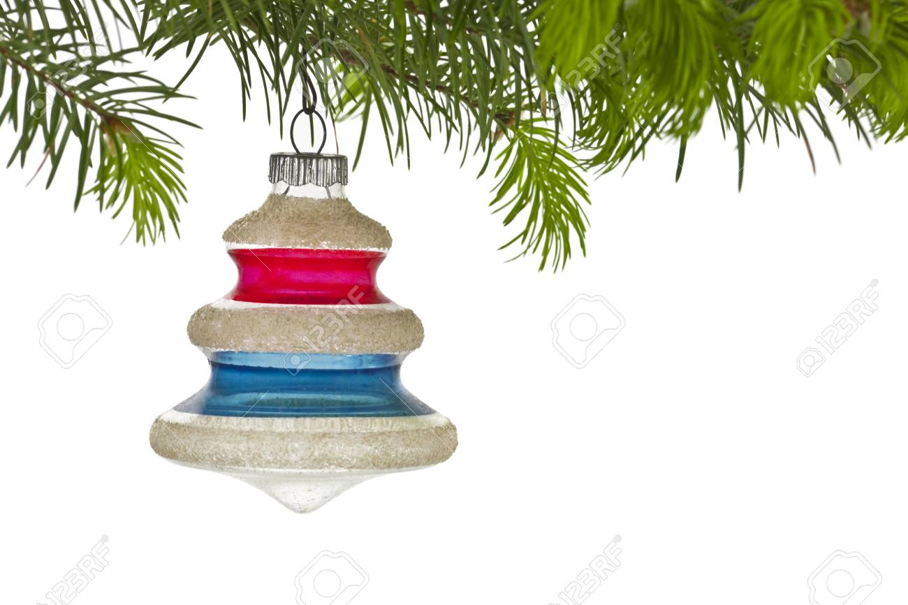 Vintage christmas tree ornament and branch on white Stock Photo - 14009239