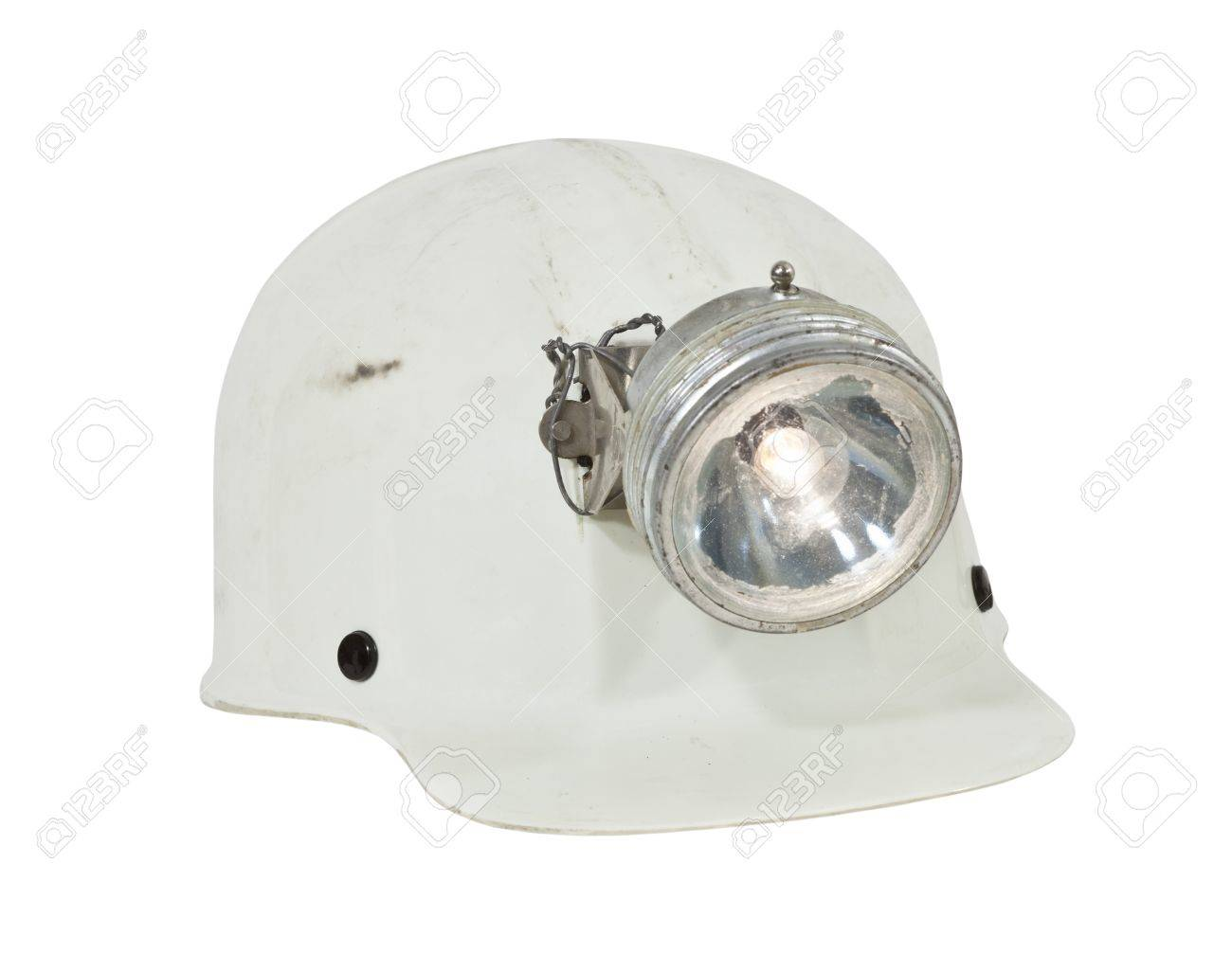 Vintage caving and mining hard hat with lamp Stock Photo - 14009199