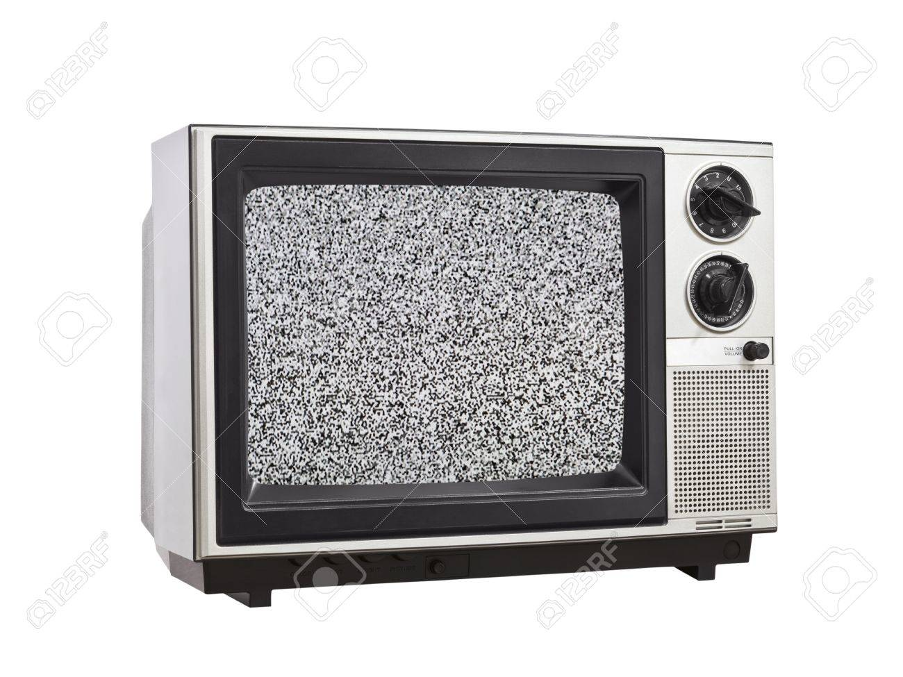 Vintage Television isolated with static screen. Stock Photo - 14331499