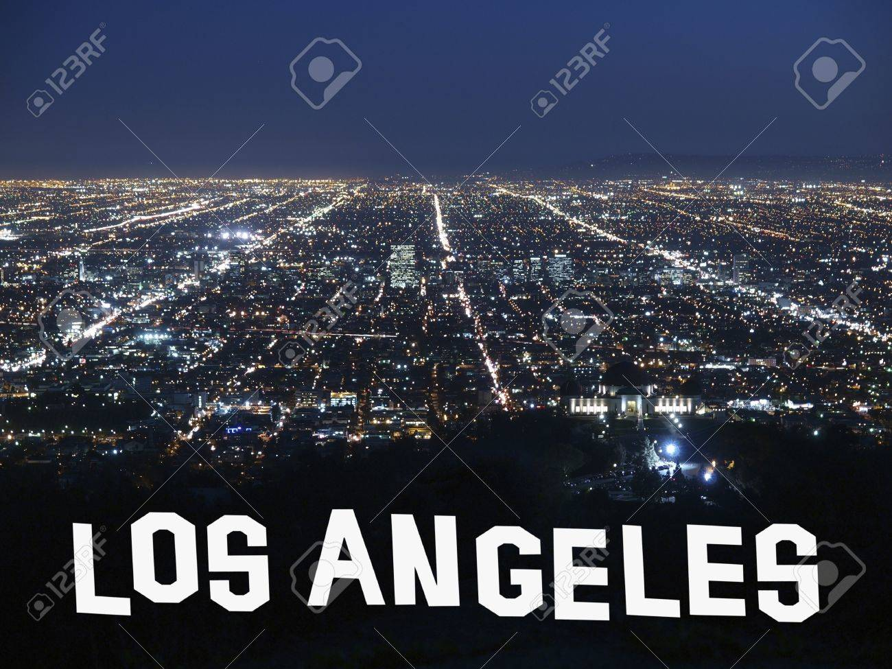 Los Angeles California at night with handmade font graphic. Stock Photo - 14445684