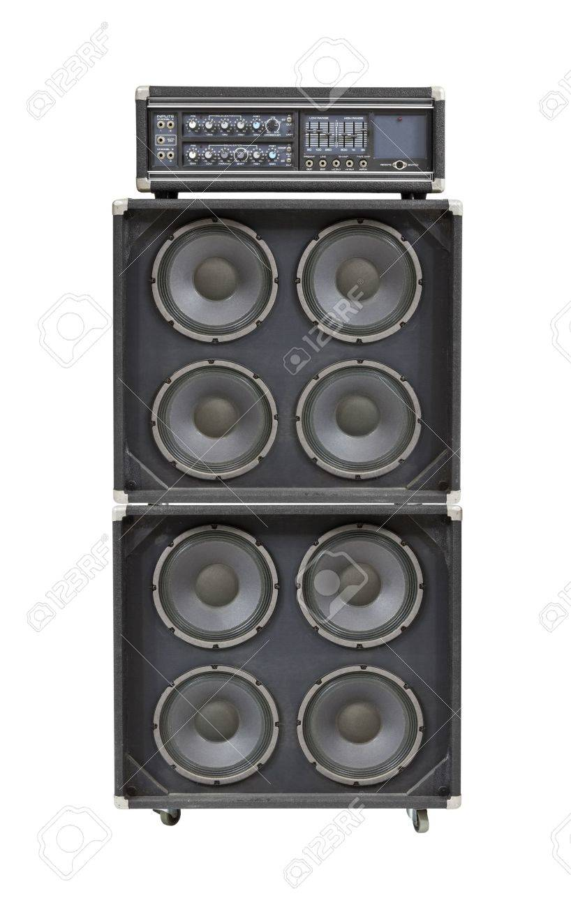 Vintage bass stack amplifier isolated on white. Stock Photo - 14591708