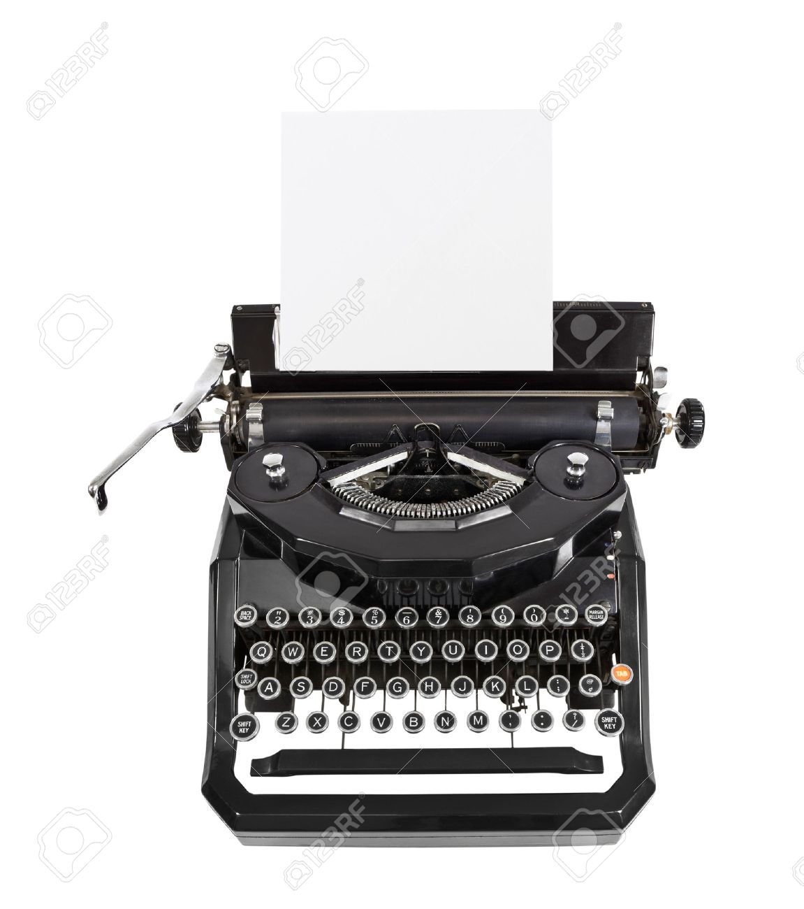 Classic vintage black typewriter isolated with paper Stock Photo - 16441953