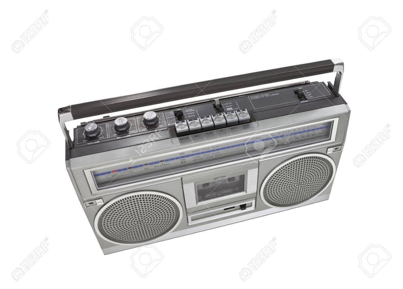 Retro boom box stereo isolated Stock Photo - 16484979