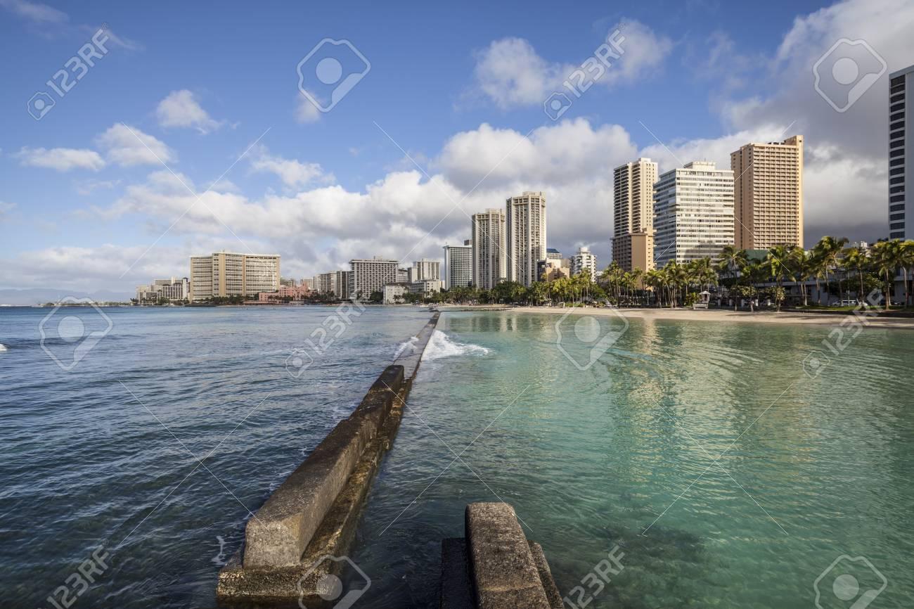 Waikiki beach breakwater in early morning light. Stock Photo - 17035983