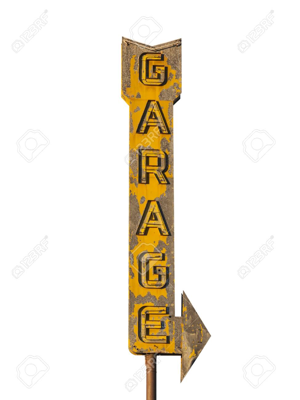 vintage neon garage arrow sign isolated with clipping path stock