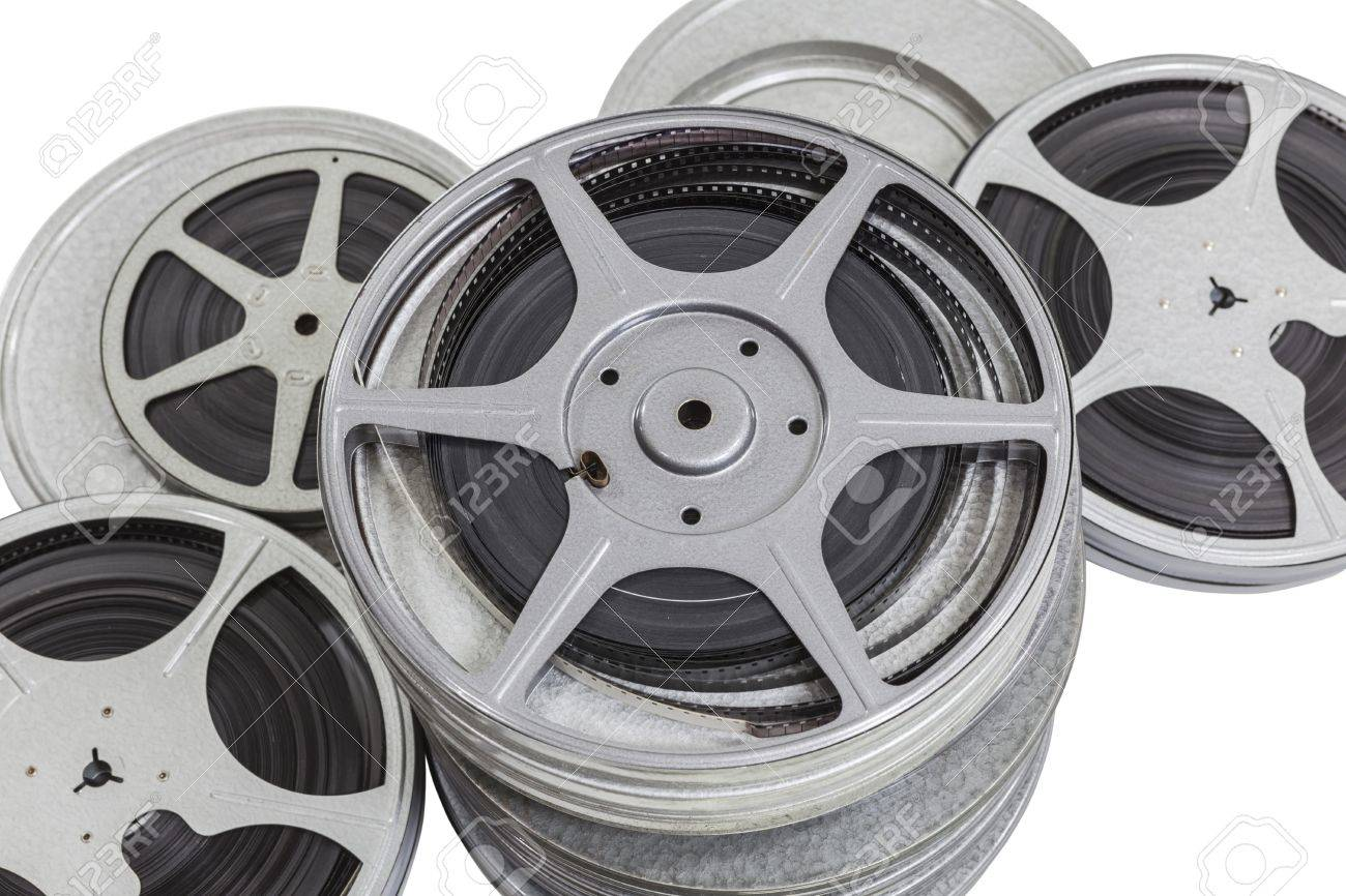 Vintage pile of 8mm film cans isolated on white. Stock Photo - 18003479