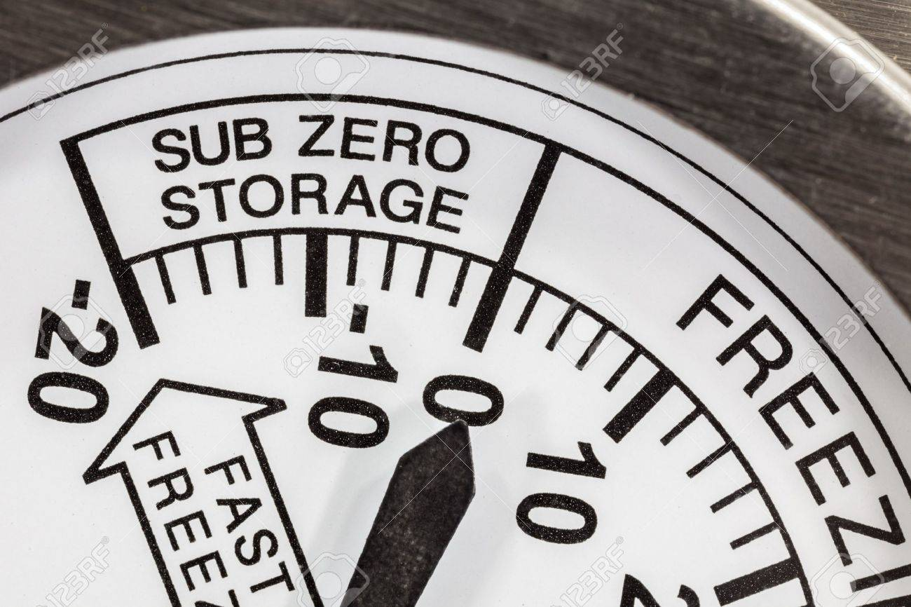 Sub zero storage refrigerator thermometer macro detail Stock Photo - 20420068