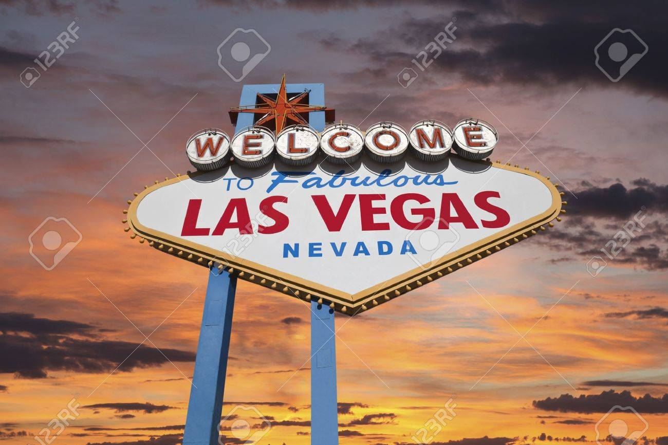 Las Vegas welcome sign with sunrise sky. Stock Photo - 21580433