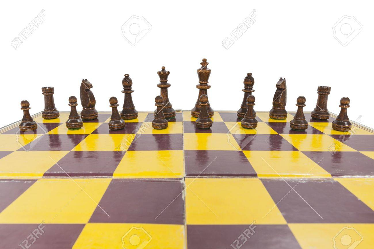 Vintage chess board with black side lined up Stock Photo - 21892540