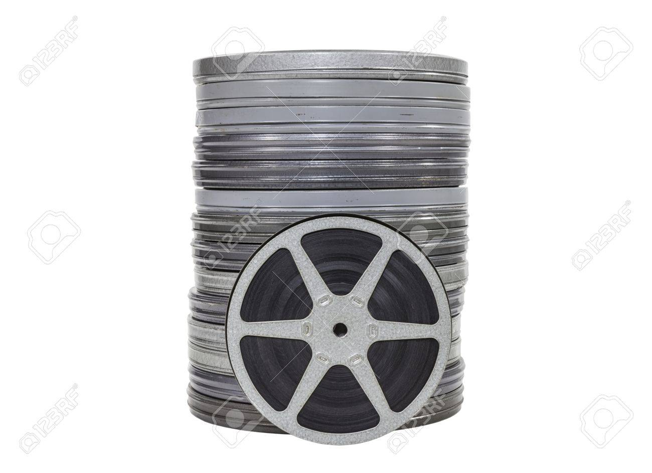 Vintage home movie film cans and reel isolated Stock Photo - 21892633