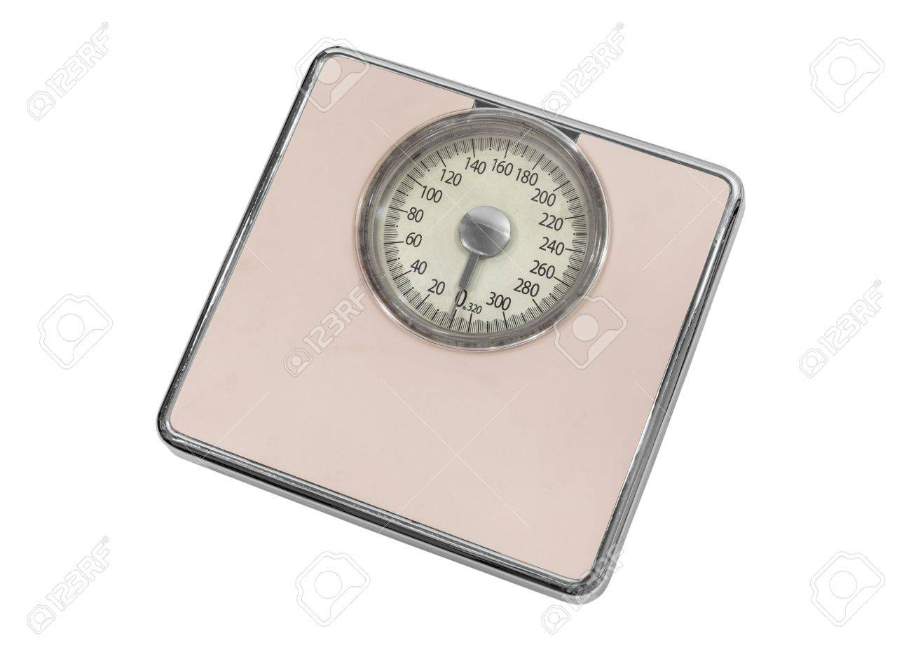 Vintage pink home weight scale isolated on white Stock Photo - 22023318