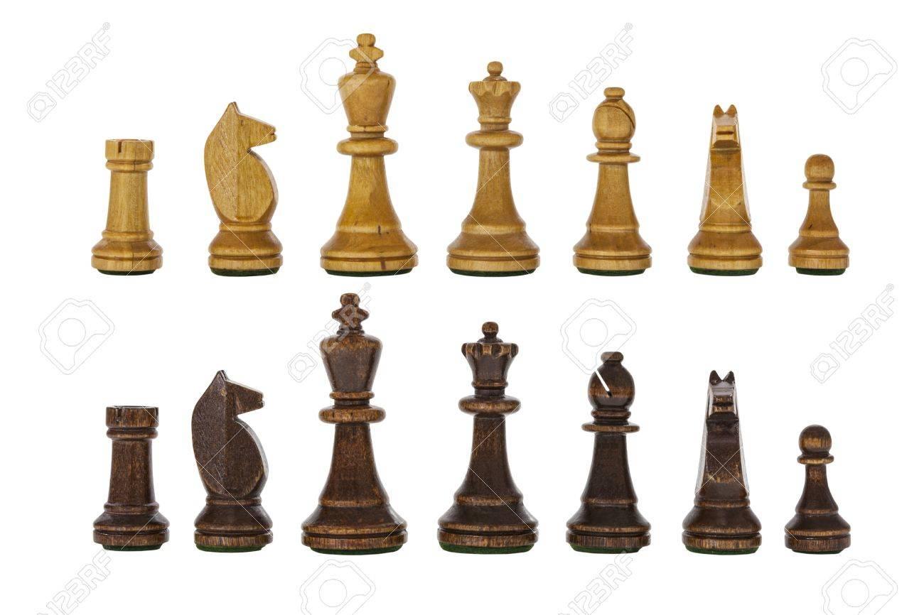 hyvin tiedossa paremmin muotityyli Vintage wooden chess set pieces isolated on white