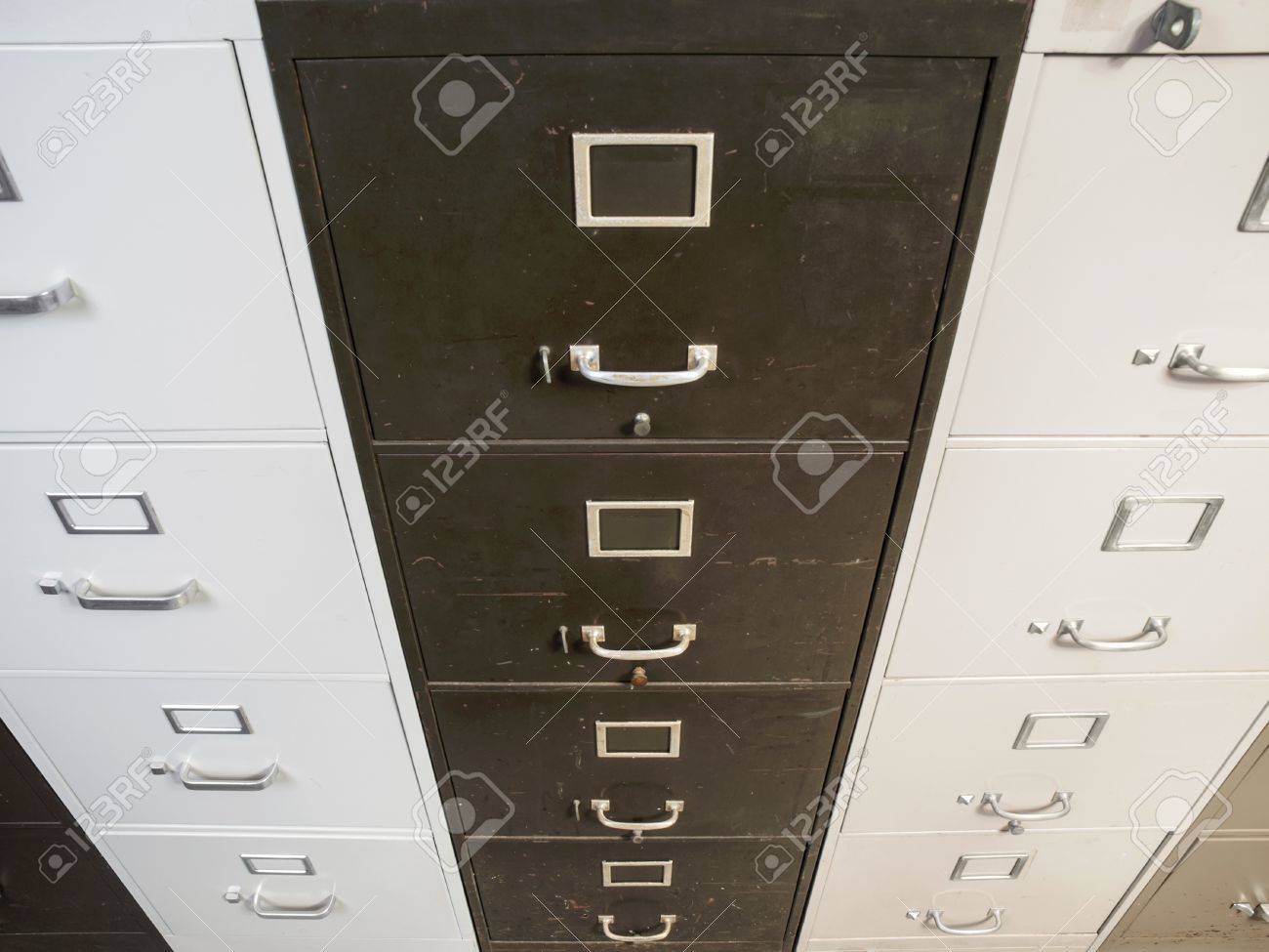 Vintage Funky Old Worn File Cabinets. Stock Photo   22023347