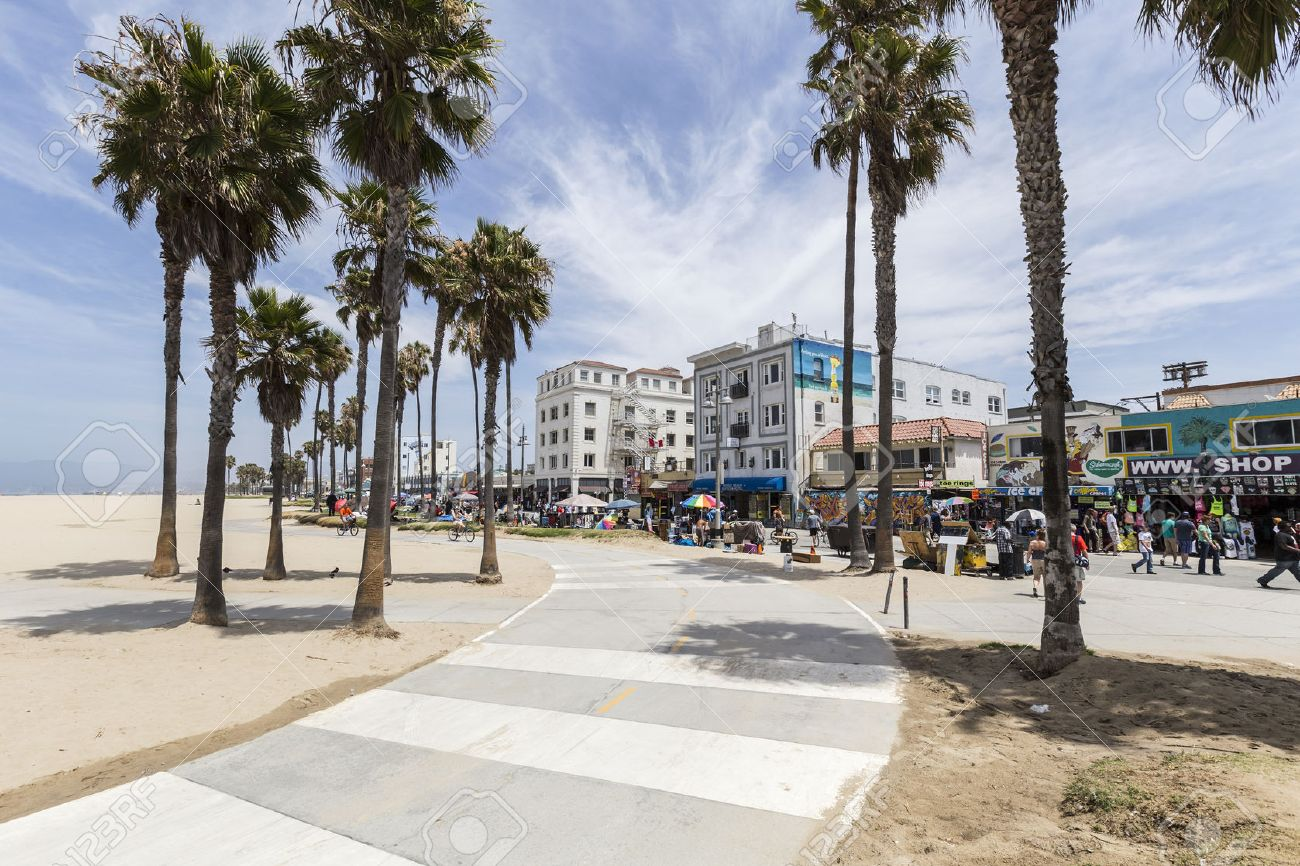 Editorial View Of The Popular Venice Beach Bike Path In Los