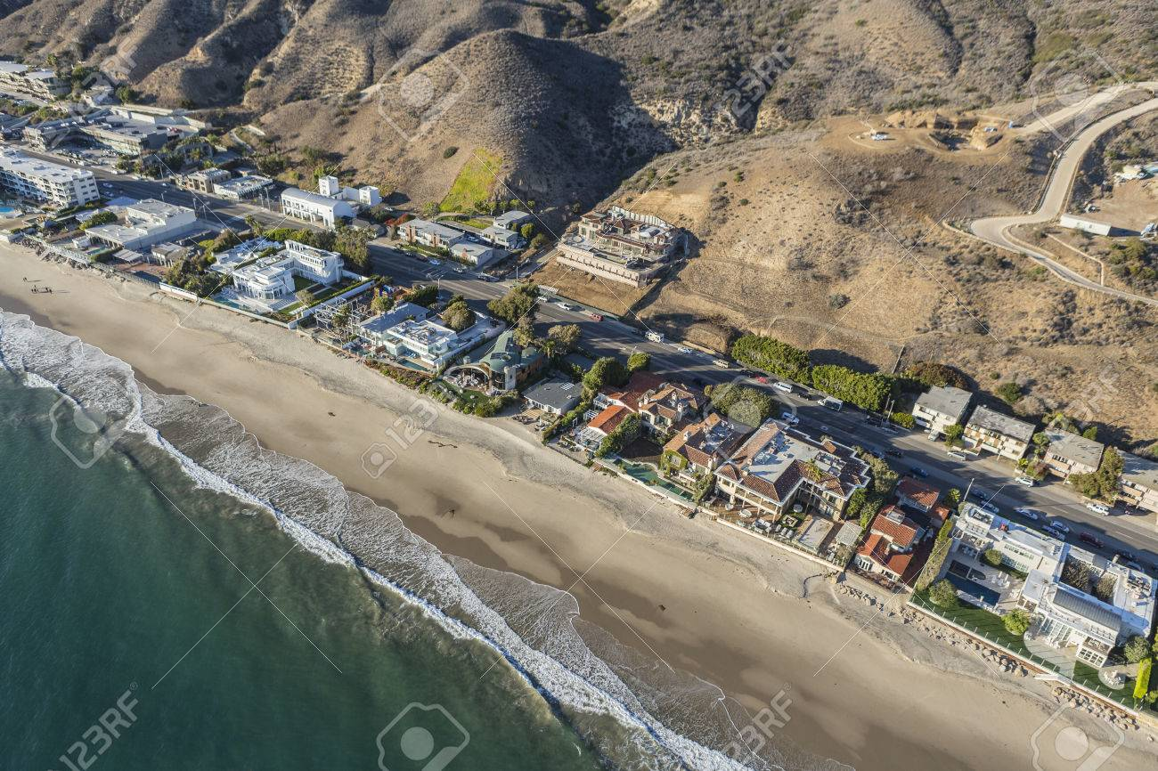 Aerial Of Beach Houses Along Pacific Coast Highway In Malibu