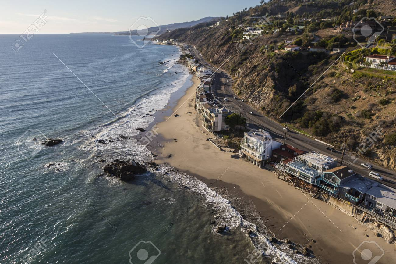 Aerial Of Homes Along Pacific Coast Highway In Malibu California