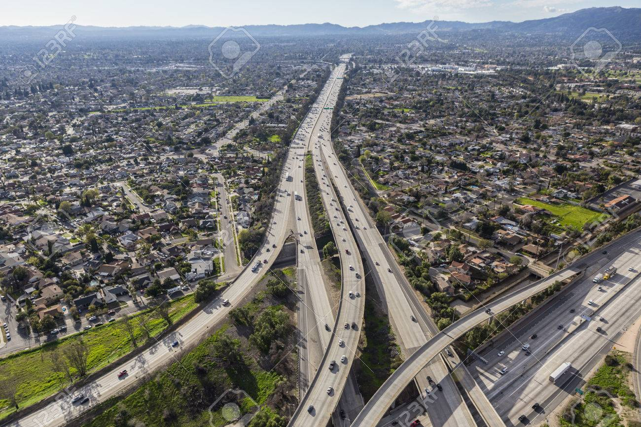 The 118 Freeway Crossing The San Fernando Valley In Los Angeles