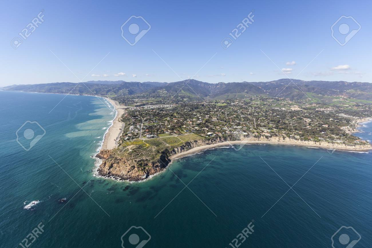 aerial shoreline view of point dume in malibu california stock