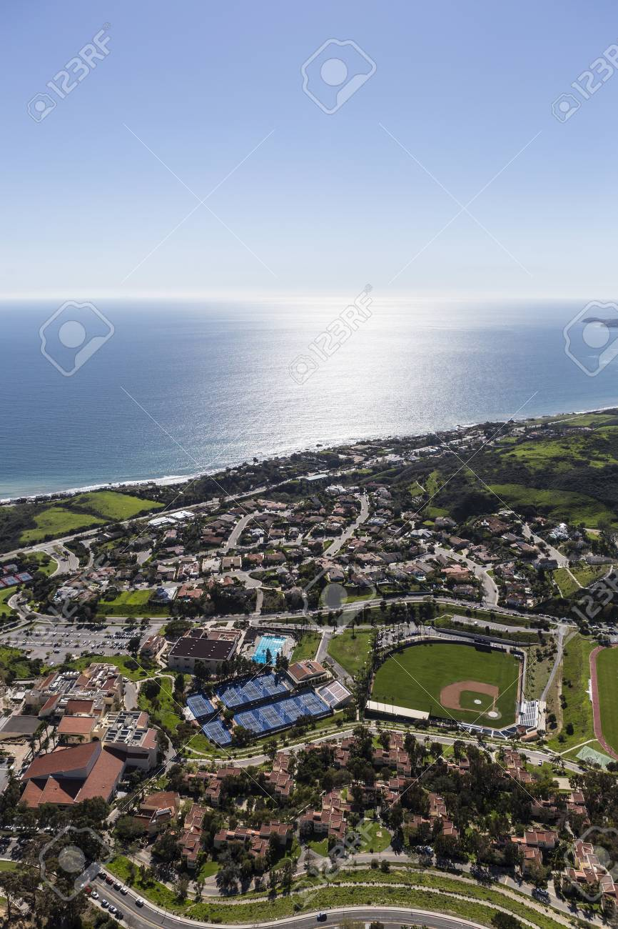 aerial view of homes streets and ball fields in malibu california