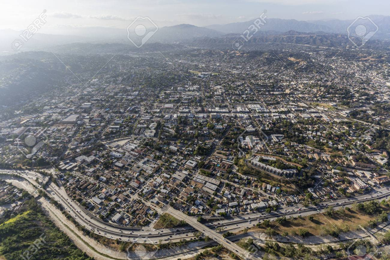 Aerial view of the Highland Park and the Pasadena 110 freeway