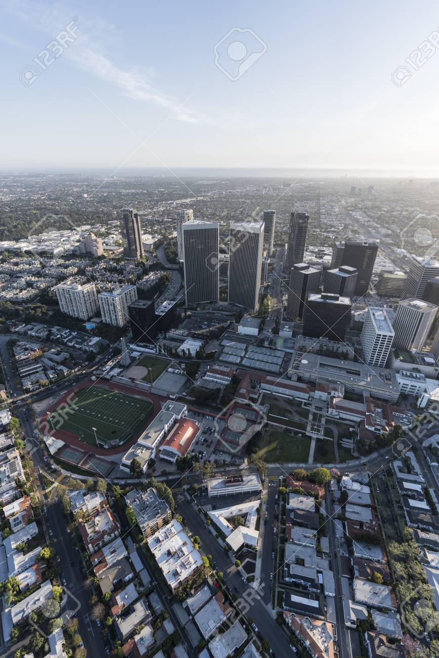 Vertical aerial view of Beverly Hills homes and Century City