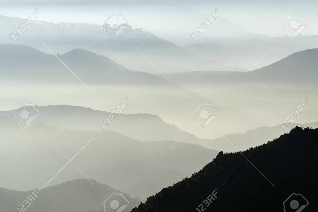 Misty mountains hills and canyons north of Chatsworth in Los Angeles, California. - 151478033