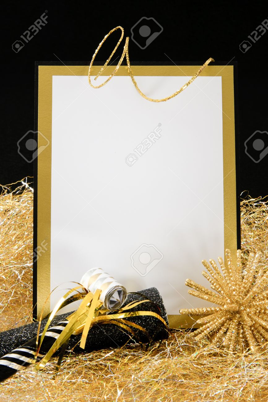 Black and Gold Blank Invitation or Sign with Copy-Space accented with Party Favors - 8406718