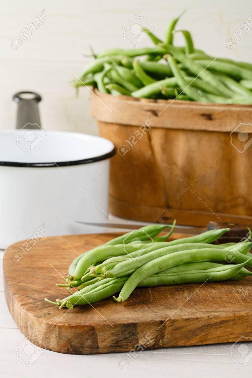 Garden Fresh Green Beans String Beans On A Wood Cutting Board ...