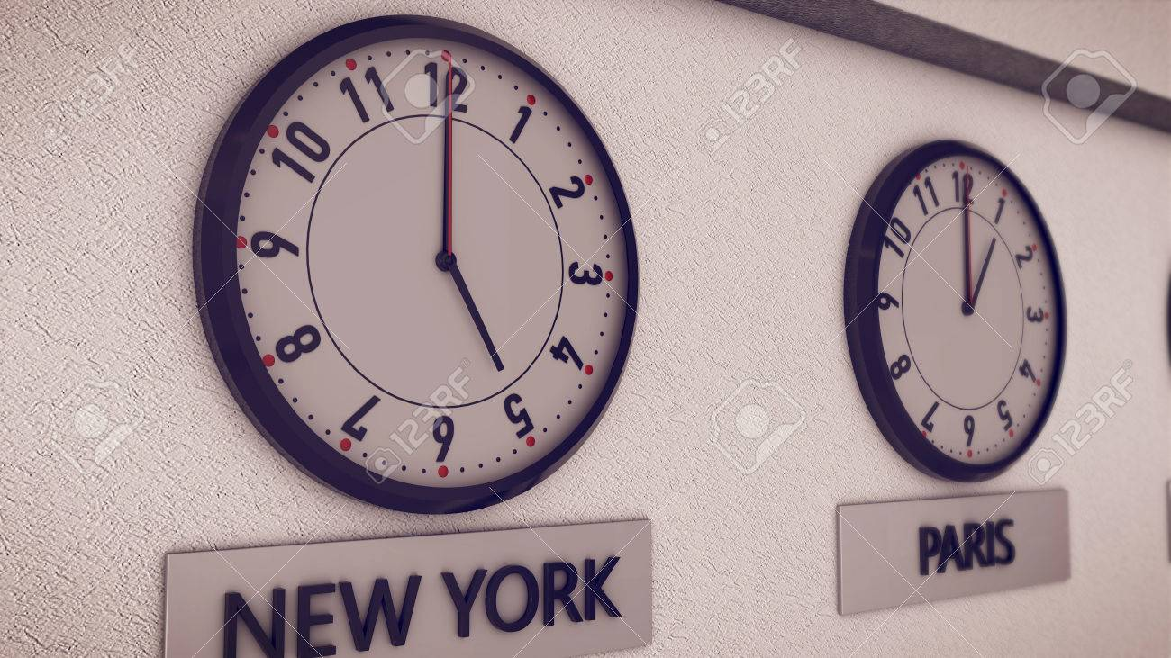 3d Rendering Of Clocks On Wall New York And Paris Symbol For