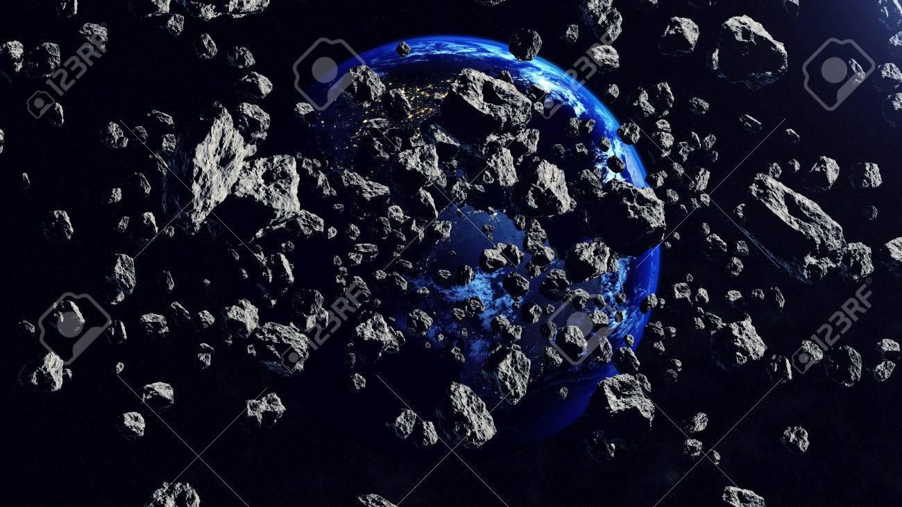 内部空間に地球に対して見小惑星...