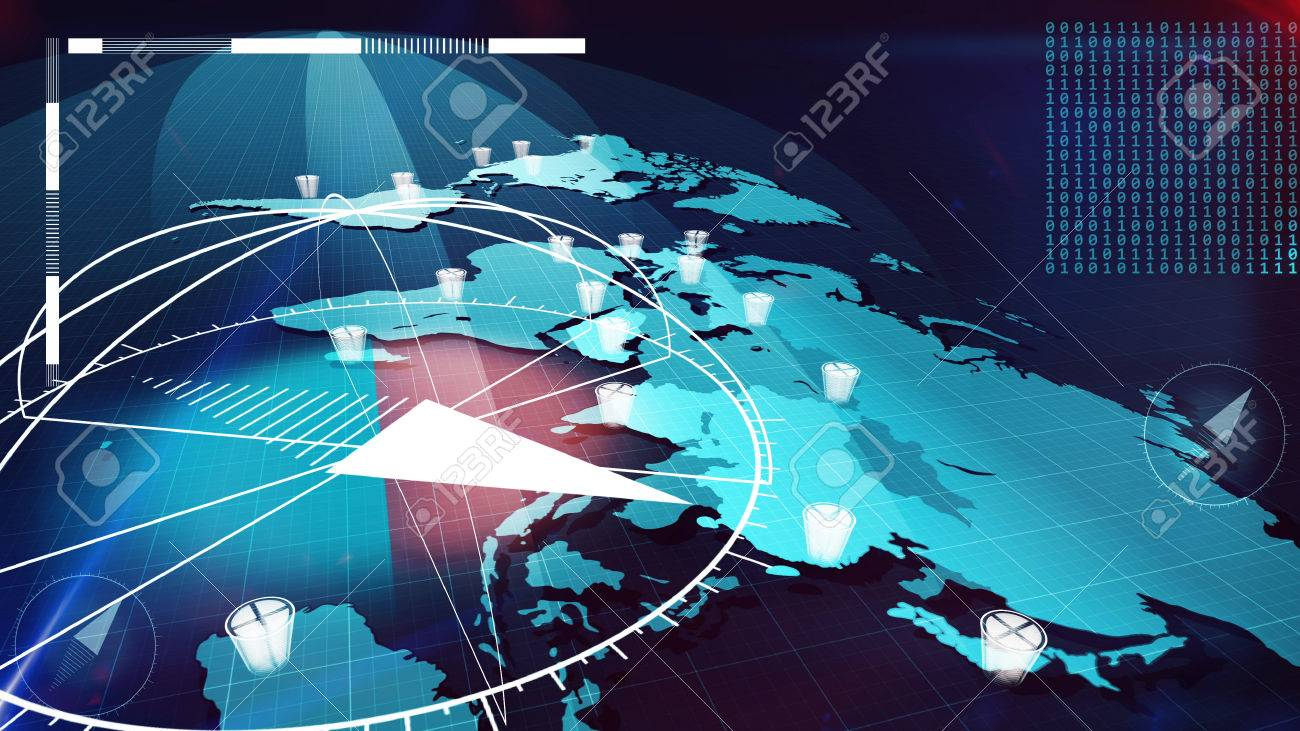 Futuristic D Illustration Of The Light Blue World Internet Map - Internetmap