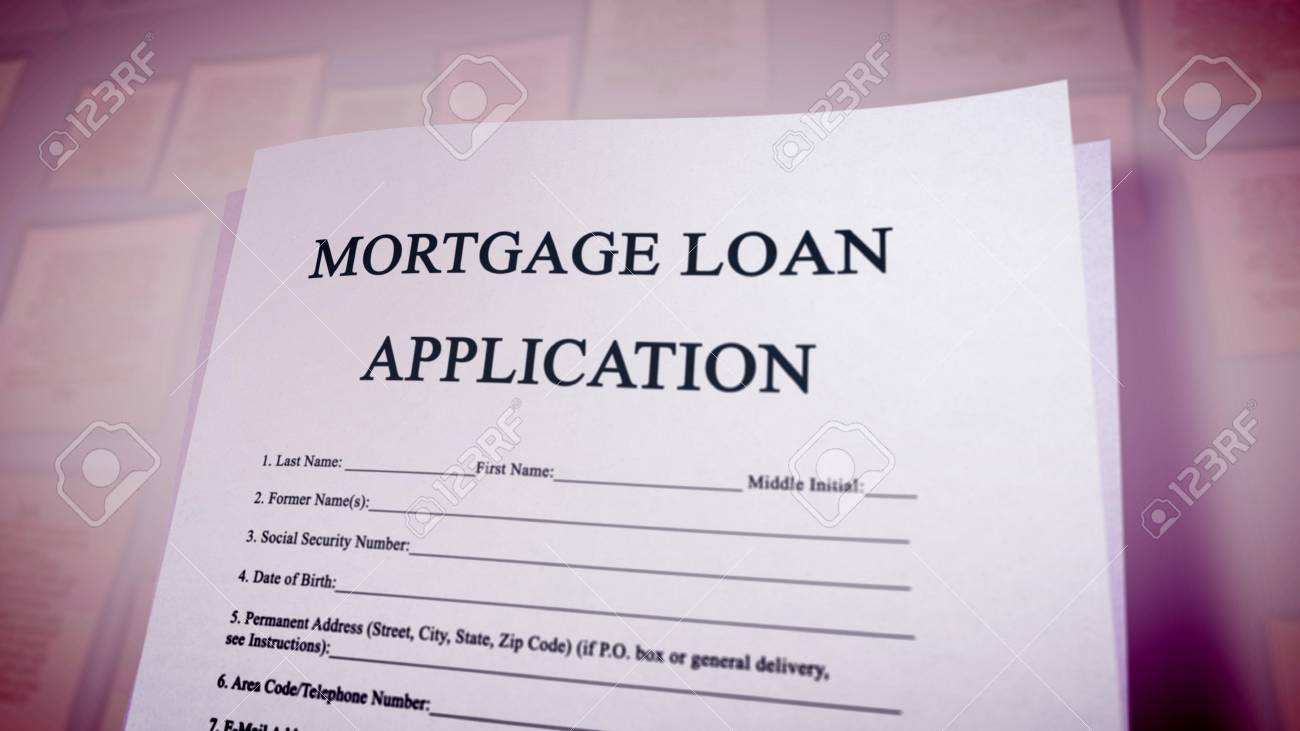 Funny 3d Illustration Of A Mortgage Loan Application Put Diagonally