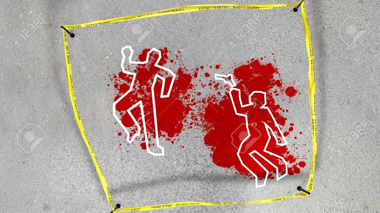 犯罪現場の血まみれのぼかし灰色のアスファルトの上での悲劇的な 3 D