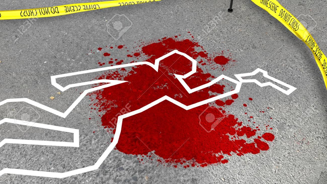 血と犯罪シーンのイラストが印象的な 3 D は灰色のアスファルトの上
