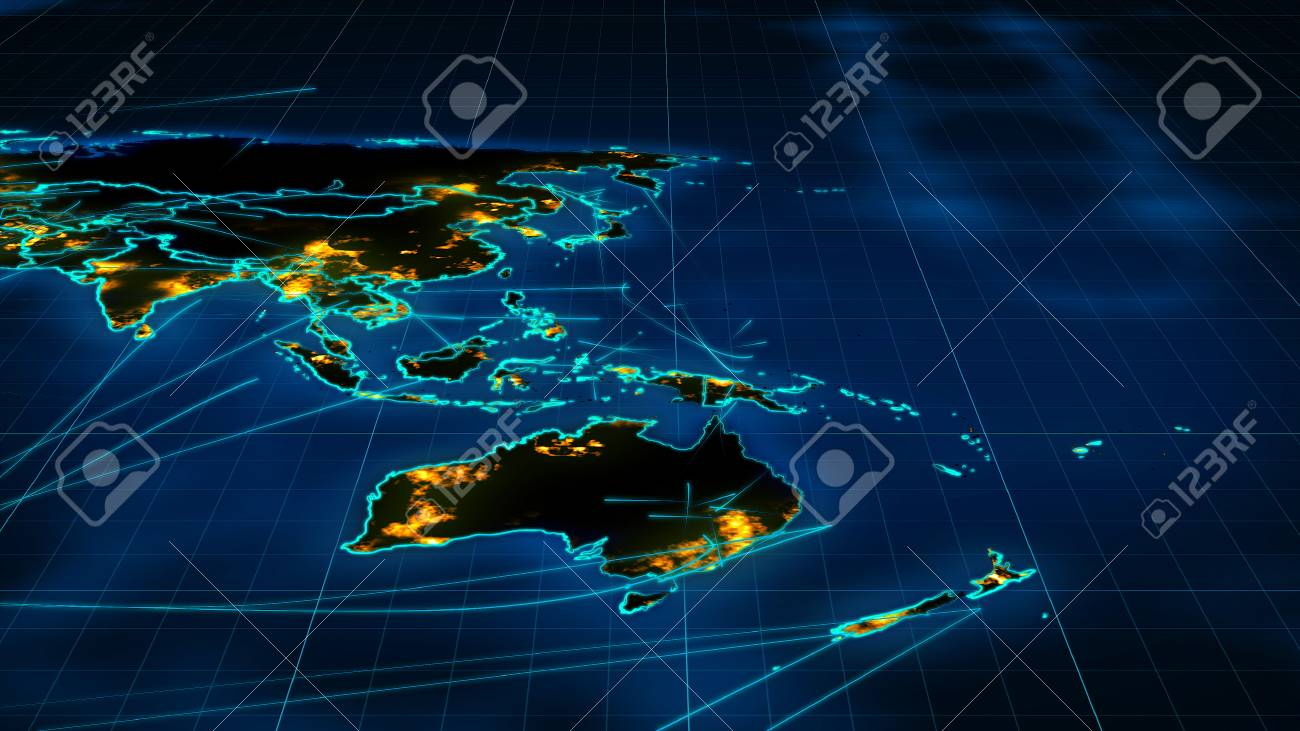 A Holographic 3d Illustration Of A World Map Placed Askew, With