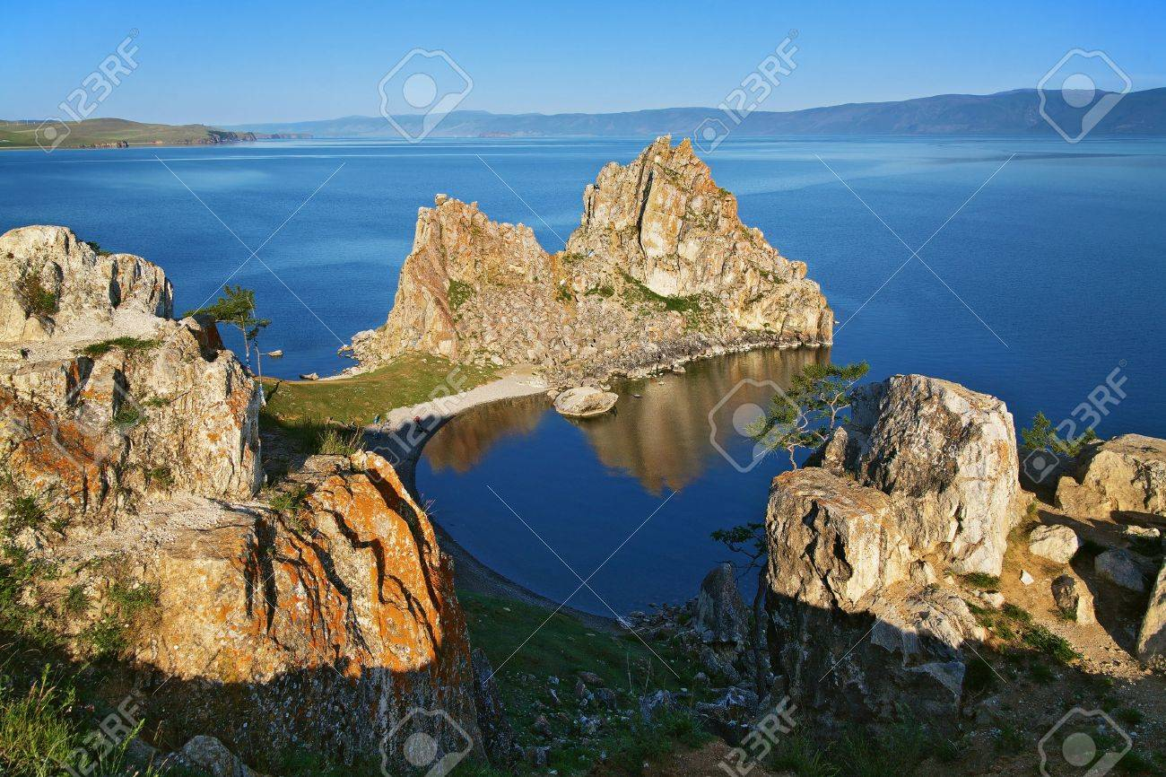 Shamanka-Rock on Baikal lake, Russia Stock Photo - 6899684