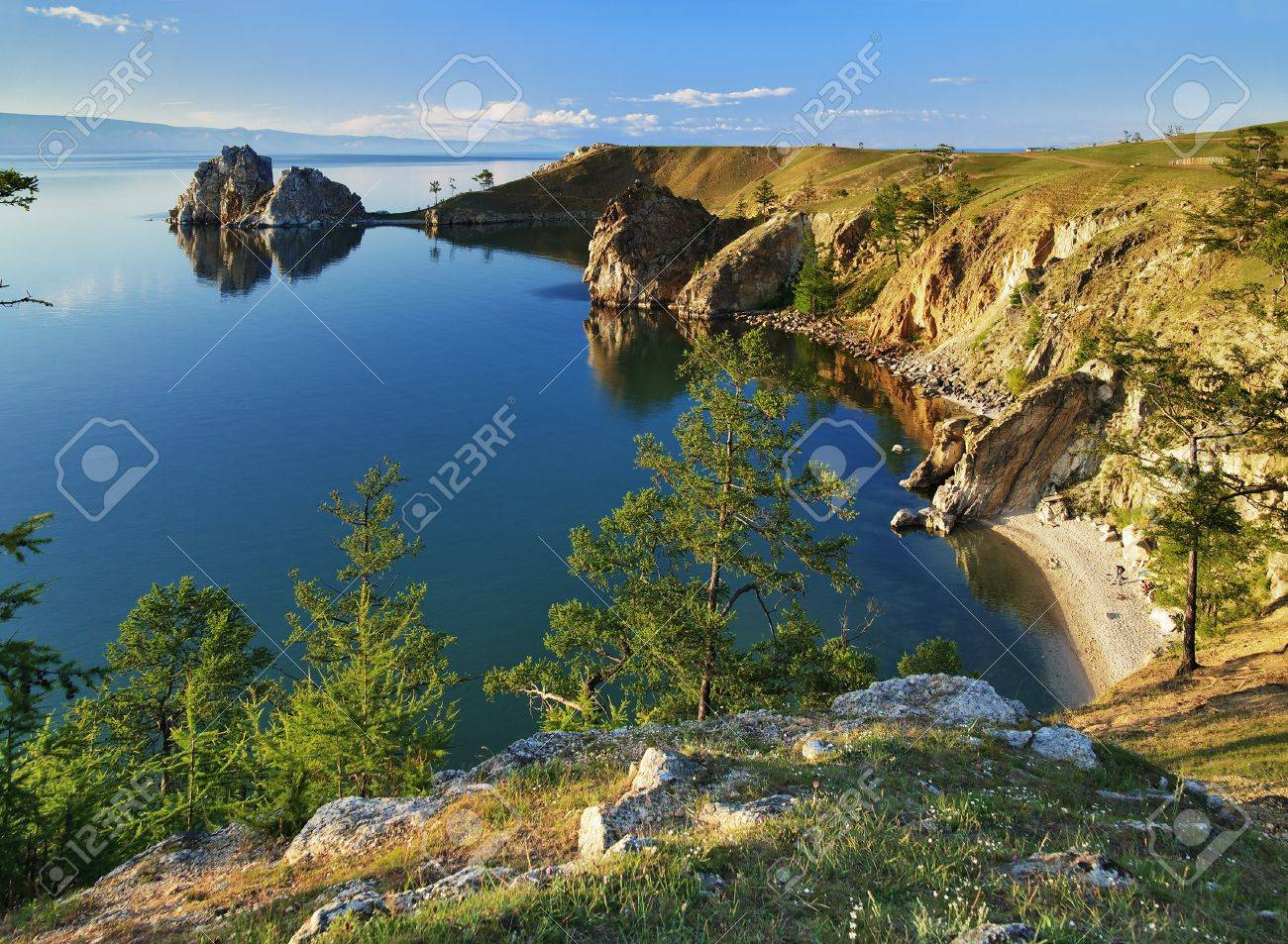 Cape Burhan and Shaman Rock on Olkhon Island at Baikal Lake, Russia Stock Photo - 6899889
