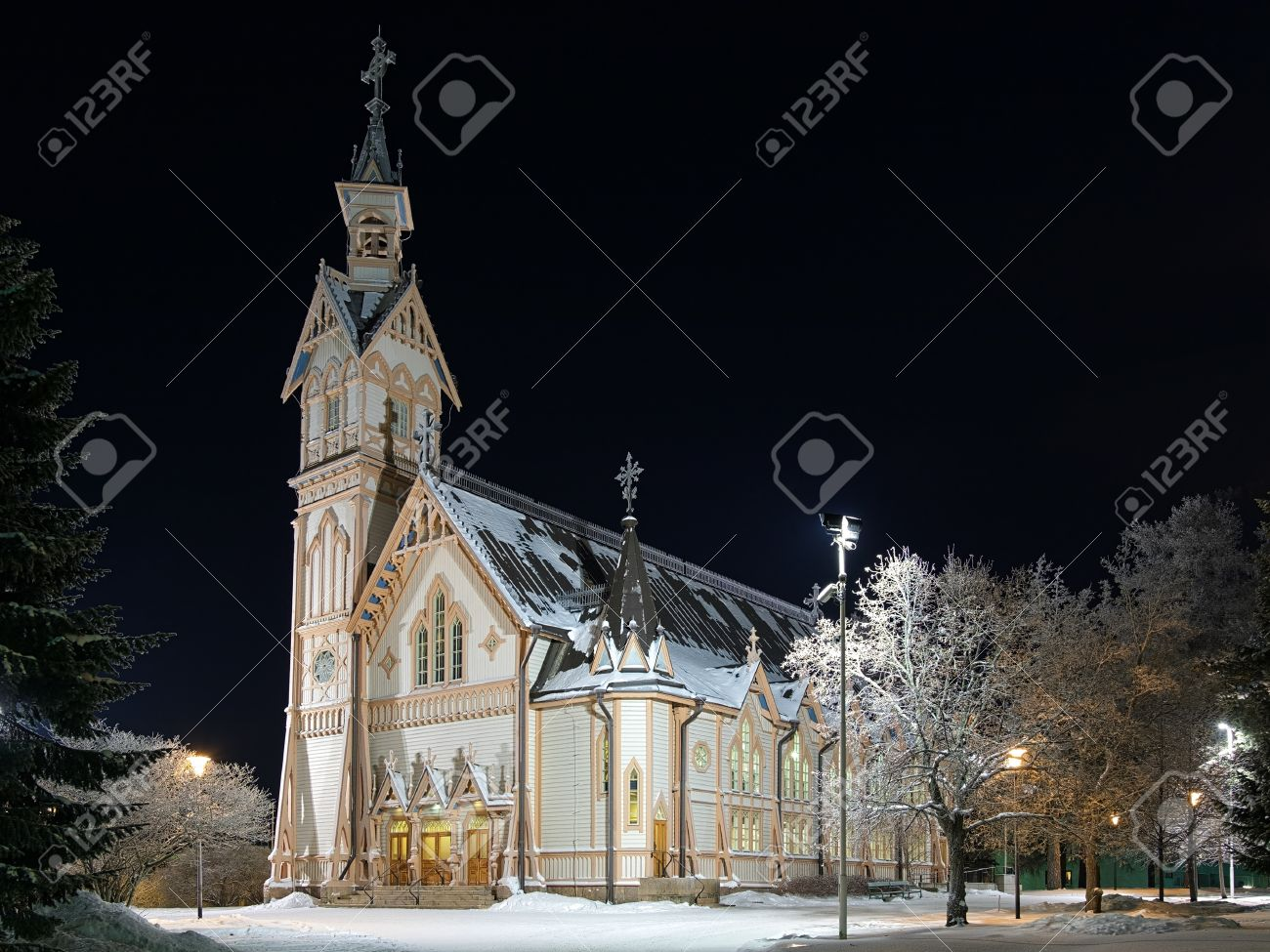 Kajaani Wooden Church In Gothic Revival Style Winter Night Finland Stock Photo