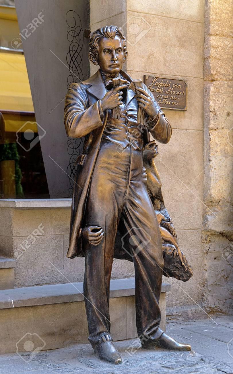monument of leopold von sacher masoch in lviv ukraine stock photo rh 123rf com